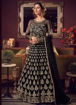 Elegant Black Net Heavy Embroidered Work Designer Wedding Long Lehenga Choli