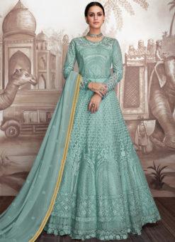 Lovely Sea Green Georgette Wedding Designer Anarkali Suit