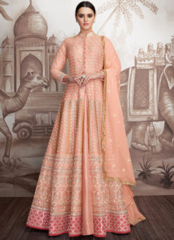 Elegant Peach Georgette Wedding Designer Anarkali Suit