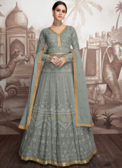 Amazing Grey Georgette Wedding Designer Anarkali Suit