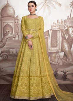 Lavish Yellow Georgette Wedding Designer Anarkali Suit