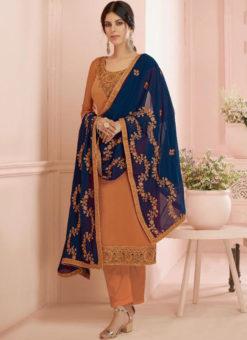 Lavish Organe Georgette Party Wear Designer Salwar Kameez