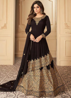 Black Georgette Embroidered Work Designer Wedding Long Lehenga Dress