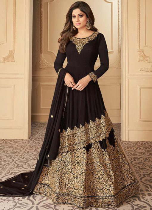 Black Georgette Embroidered Work Designer Wedding Long Lehenga Dress