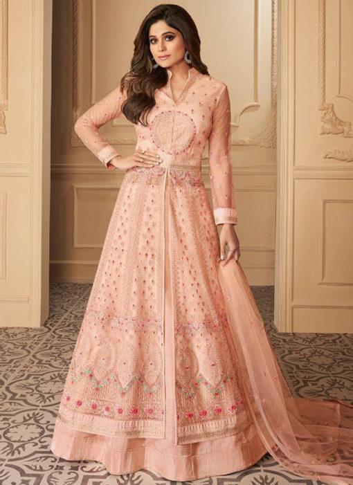 Pink Net Embroidered Work Designer Wedding Long Lehenga Dress