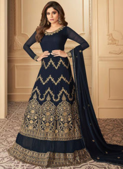 Navy Blue Georgette Embroidered Work Designer Wedding Lehenga Dress