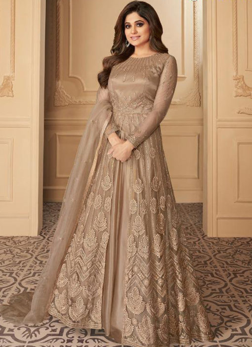Beige Net Embroidered Work Designer Wedding Long Lehenga Dress
