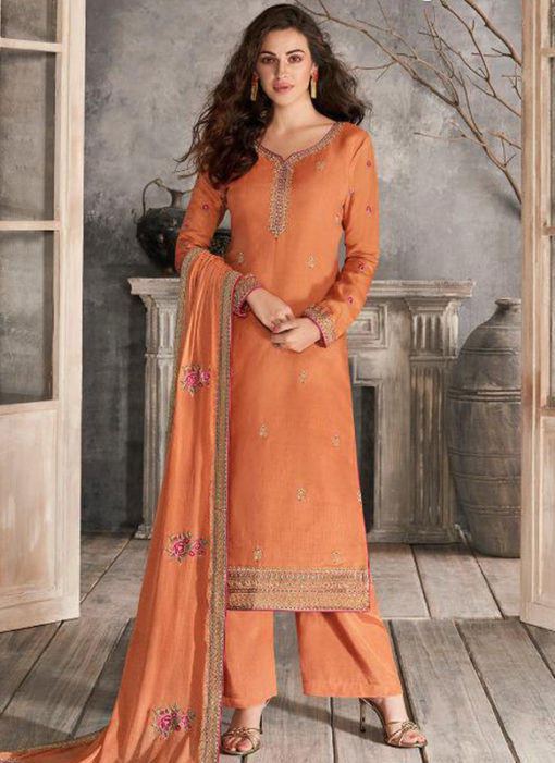 Alluring Peach Silk Embroidered Work Party Wear Salwar Kameez