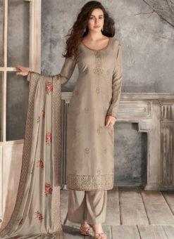 Jazzy Beige Silk Embroidered Work Party Wear Salwar Kameez