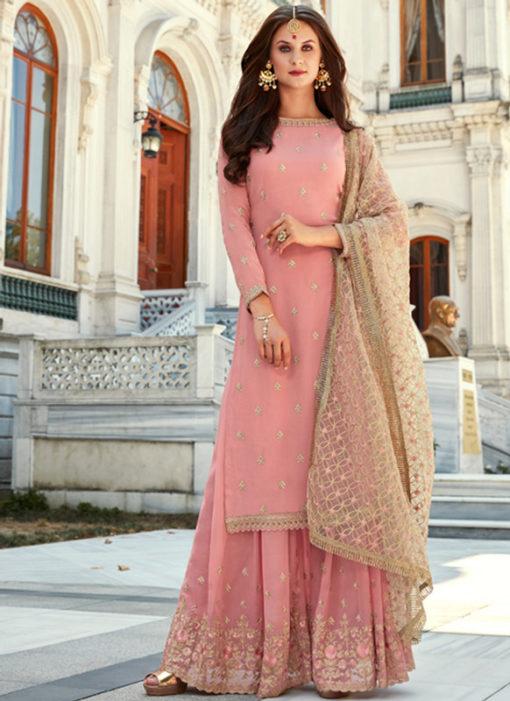 Charming Pink Georgette Embroidered Work Designer Salwar Kameez