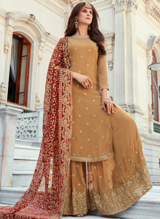 Lovely Mustared Georgette Embroidered Work Designer Salwar Kameez