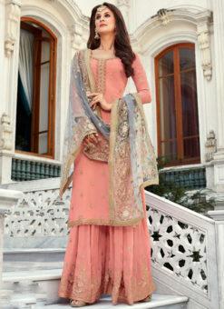 Alluring Pink Georgette Embroidered Work Designer Salwar Kameez