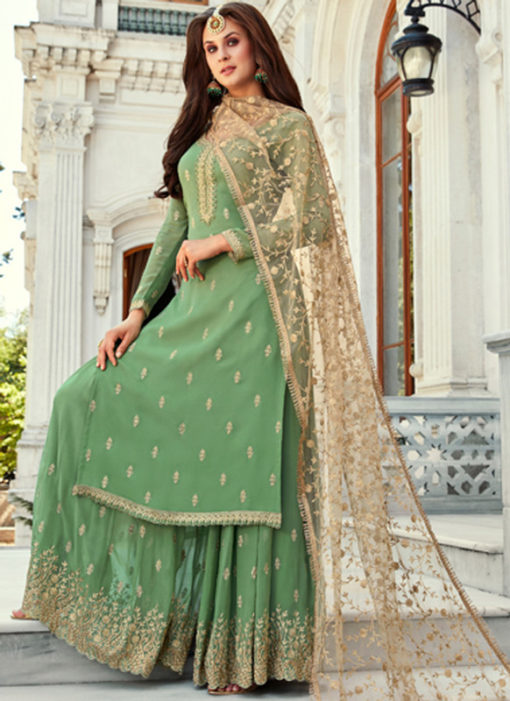 Excellent Green Georgette Embroidered Work Designer Salwar Kameez