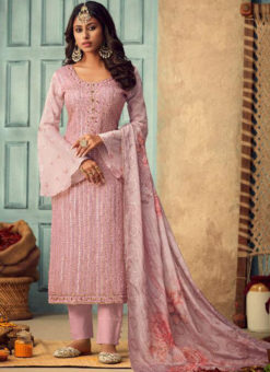 Lovely Pink Chiffon Party Wear Designer Salwar Kameez