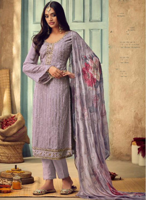 Excellent Lavender Chiffon Party Wear Designer Salwar Kameez