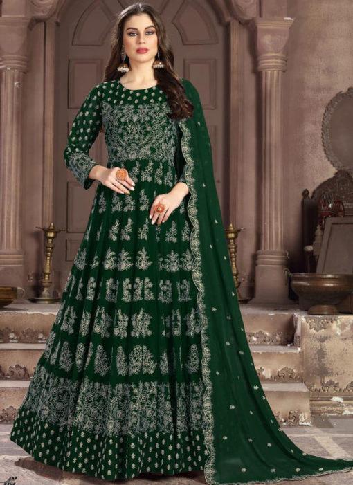 Glorious Green Georgette Designer Embroidered Work Anarkali Suit