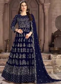 Superb Blue Georgette Designer Embroidered Work Anarkali Suit