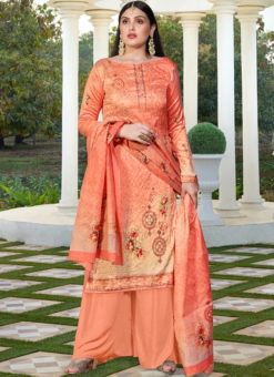 Wonderful Orange Cotton Silk Designer Party Wear Palazzo Salwar Kameez