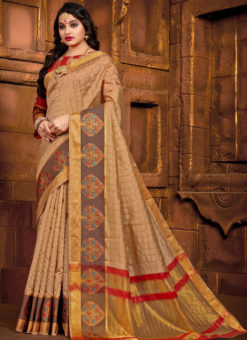 Amazing Beige Art Silk Designer Bridal Saree