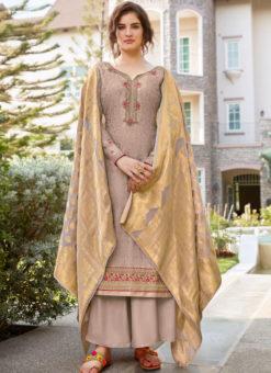 Amazing Grey Art Silk Designer Party Wear Salwar Kameez