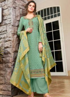 Lovely Green Art Silk Designer Party Wear Salwar Kameez