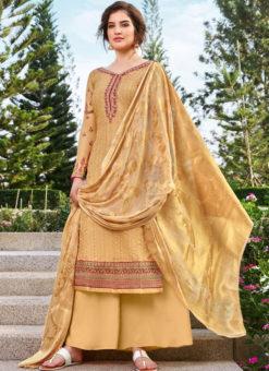 Beautiful Yellow Art Silk Designer Party Wear Salwar Kameez