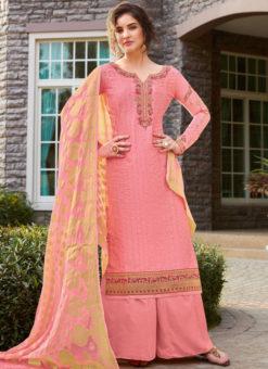 Excellent Pink Art Silk Designer Party Wear Salwar Kameez