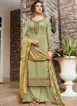 Alluring Green Art Silk Designer Party Wear Salwar Kameez