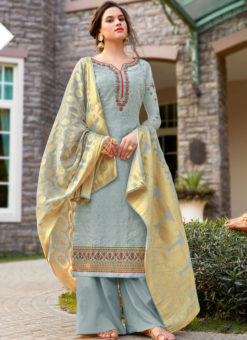 Jazzy Bule Art Silk Designer Party Wear Salwar Kameez