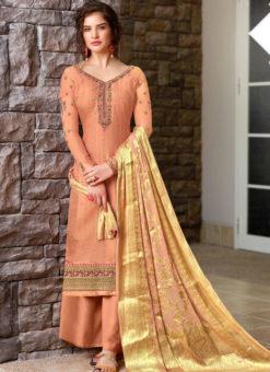 Elegant Peach Art Silk Designer Party Wear Sawlar Kameez