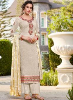 Lovely Off White Art Silk Designer Party Wear Salwar Kameez