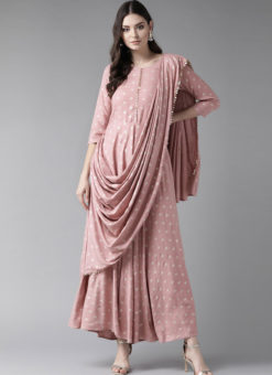 Charming Baby Pink Rayon Designer Party Wear Gown