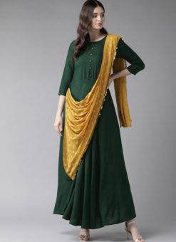 Lovely Green Rayon Designer Party Wear Gown