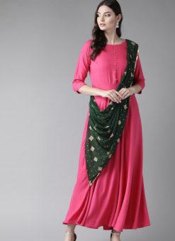 Elegant Pink Rayon Designer Party Wear Gown