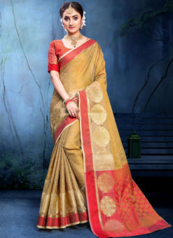 Precious Beige Cotton Silk Zari Weaving Wedding Saree