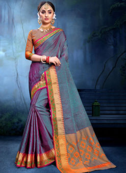 Exquisite Purple And Blue Cotton Silk Zari Weaving Wedding Saree