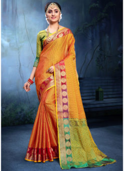 Superb Yellow And Red Cotton Silk Zari Weaving Wedding Saree