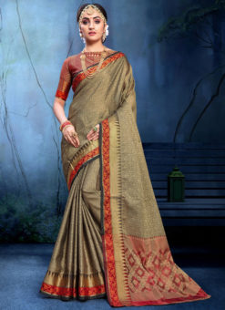 Glorious Grey And Black Cotton Silk Zari Weaving Wedding Saree