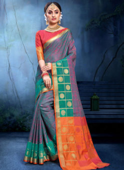 Great Sea Green And Pink Cotton Silk Zari Weaving Wedding Saree