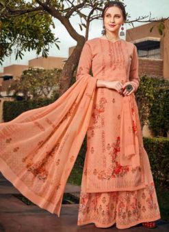Colossal Orange Georgette Designer Printed Salwar Kameez