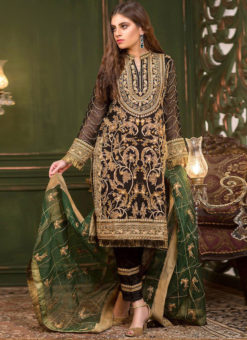 Miraamall Black Georgette Embroidered Work Designer Pakistani Suit
