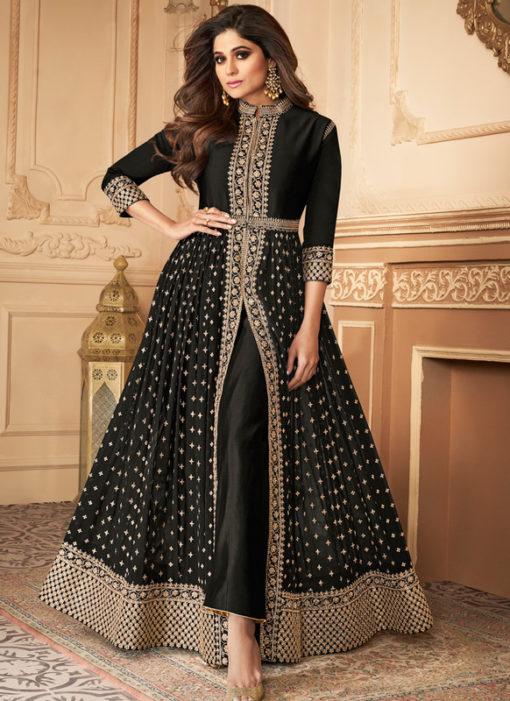 Excellent Black Georgette Wedding Embroidered Designer Anarkali Suit