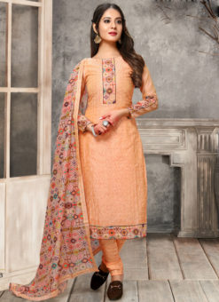 Amazing Orange Chanderi Silk Thread And Sequence Work Designer Salwar Suit
