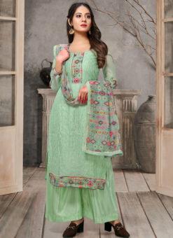 Classic Green Chanderi Silk Thread And Sequence Work Designer Salwar Suit