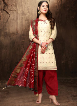 Delightful Cream Chanderi Silk Abhala Work Party Wear Salwar Suit
