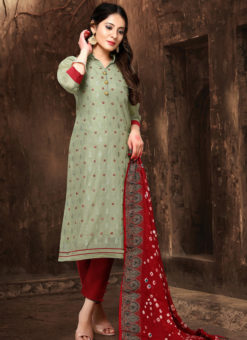 Elegant Grenish Chanderi Silk Abhala Work Party Wear Salwar Suit