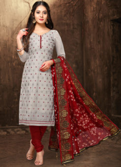 Wonderful Grey Chanderi Silk Abhala Work Party Wear Salwar Suit