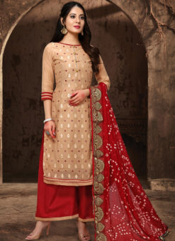 Amazing Chikoo Chanderi Silk Abhala Work Party Wear Salwar Suit