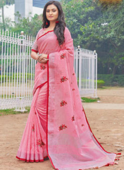 Charming Pink Linen Embroidered Work Party Wear Designer Saree