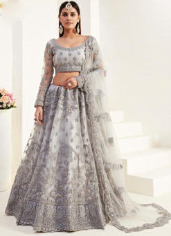 Fantastic Grey Net Embroidered Work Wedding Designer Lehenga Choli